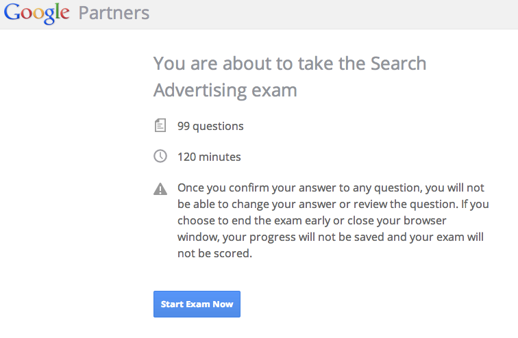 AdWords Advanced Search Exam