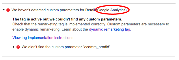 Google Analytics Dynamic Remarketing Error Example